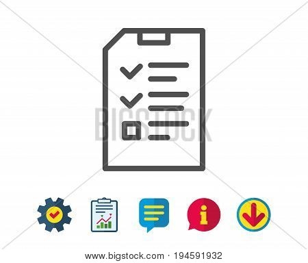 Checklist Document line icon. Information File sign. Paper page concept symbol. Report, Service and Information line signs. Download, Speech bubble icons. Editable stroke. Vector