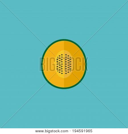 Flat Icon Melon Element. Vector Illustration Of Flat Icon Muskmelon Isolated On Clean Background. Can Be Used As Muskmelon, Melon And Cantaloupe Symbols.