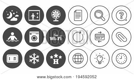 Hotel, apartment service icons. Washing machine. Wifi, air conditioning and swimming pool symbols. Document, Globe and Clock line signs. Lamp, Magnifier and Paper clip icons. Vector