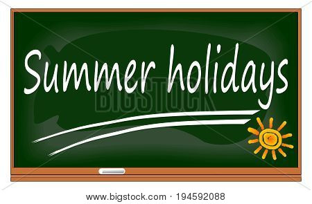 decorative Chalkboard with Summer Holidays - illustration