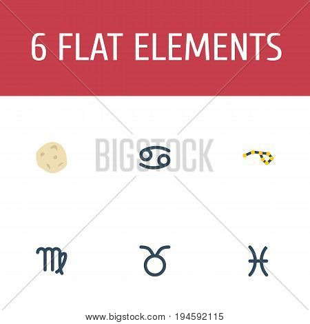 Flat Icons Fishes, Virgin, Bull And Other Vector Elements. Set Of Astronomy Flat Icons Symbols Also Includes Pisces, Virgin, Comet Objects.