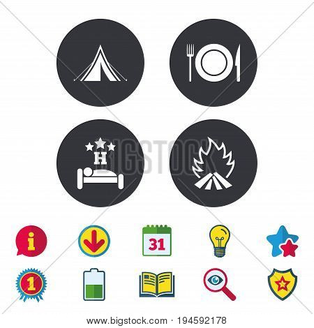 Food, sleep, camping tent and fire icons. Knife, fork and dish. Hotel or bed and breakfast. Road signs. Calendar, Information and Download signs. Stars, Award and Book icons. Vector
