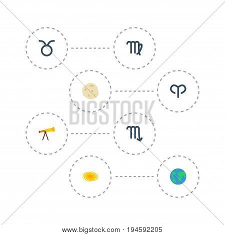 Flat Icons Bull, Comet, Ram And Other Vector Elements. Set Of Astronomy Flat Icons Symbols Also Includes Virgo, Planet, Horoscope Objects.
