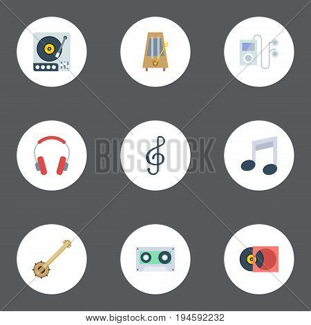 Flat Icons Quaver, Retro Disc, Turntable And Other Vector Elements. Set Of Studio Flat Icons Symbols Also Includes Player, Headset, Musical Objects.