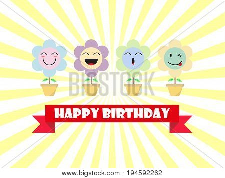Cute Pastel Flower Emoji Happy Birthday Card Designed as 4 Happy Cartoon Facial Expressions Smile Laugh Ho Ho Wink.