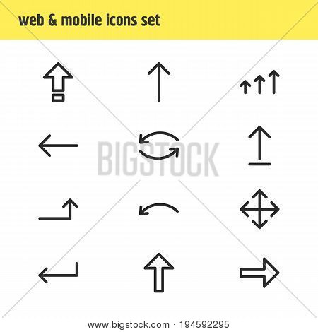 Vector Illustration Of 12 Direction Icons. Editable Pack Of Right, Widen, Upwards And Other Elements.