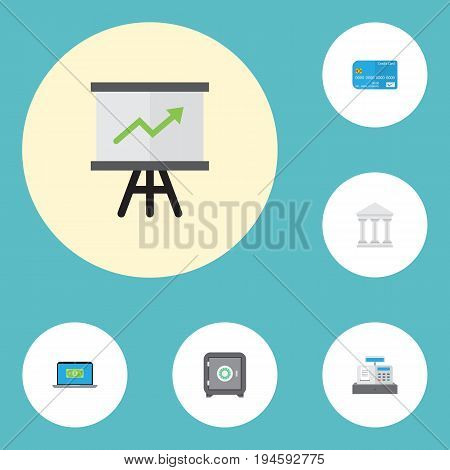 Flat Icons Till, Bank, Growing Chart And Other Vector Elements. Set Of Finance Flat Icons Symbols Also Includes Safe, Building, Laptop Objects.