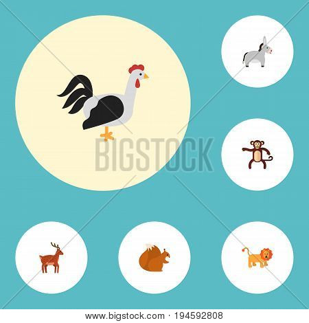 Flat Icons Moose, Jackass, Chimpanzee And Other Vector Elements. Set Of Zoology Flat Icons Symbols Also Includes Nut, Donkey, Bird Objects.