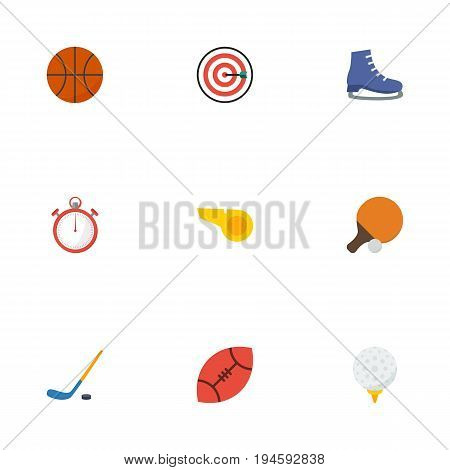Flat Icons Golf, Basket, Arrow And Other Vector Elements. Set Of Activity Flat Icons Symbols Also Includes Hockey, Start, Ping Objects.