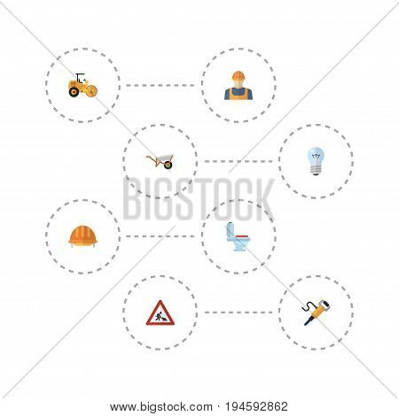 Flat Icons Bulb, Worker, Restroom And Other Vector Elements. Set Of Industry Flat Icons Symbols Also Includes Equipment, Restroom, Hardhat Objects.