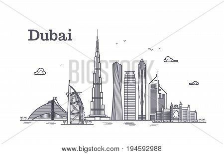 Detailed dubai line vector cityscape with skyscrapers. Uae landmark skyline. Architecture dubai skyscraper in linear style illustration