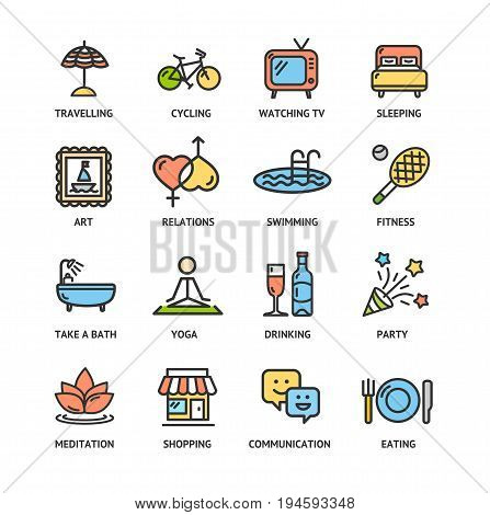 Relaxation Rest Time Color Thin Line Icon Set Symbol of Relax Leisure. Vector illustration