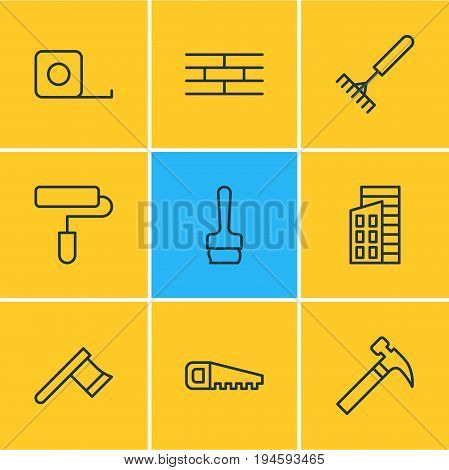 Vector Illustration Of 9 Construction Icons. Editable Pack Of Hatchet, Handle Hit, Hacksaw Elements.