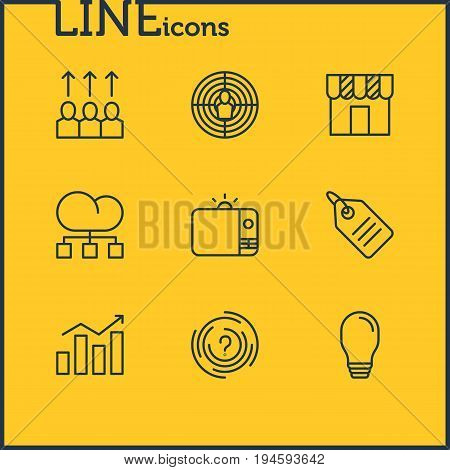 Vector Illustration Of 9 Marketing Icons. Editable Pack Of Cloud Distribution, Shop, Statistics And Other Elements.