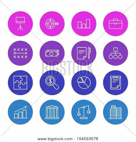 Vector Illustration Of 16 Management Icons. Editable Pack Of File, Agreement, Tactics And Other Elements.