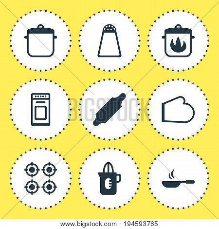 Vector Illustration Of 9 Kitchenware Icons. Editable Pack Of Oven Mitts, Stewpot, Bakery Roller And Other Elements.