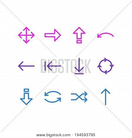 Vector Illustration Of 12 Arrows Icons. Editable Pack Of Right, Down, Widen And Other Elements.