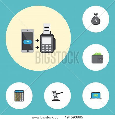 Flat Icons Finance Sack, Computer, Verdict And Other Vector Elements. Set Of Finance Flat Icons Symbols Also Includes Cash, Sack, Payment Objects.