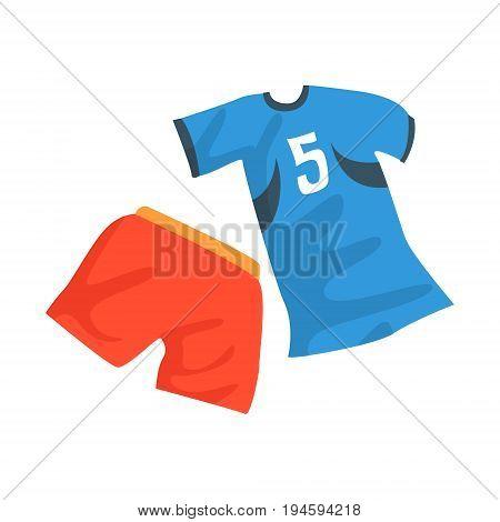 Sports uniform of handball player, shirt with number 11, handball sport equipment cartoon vector Illustration isolated on a white background