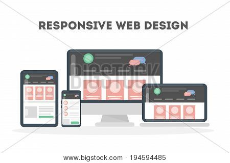 Responsive web design. Mockup of computer, tablet and smartphone screens.