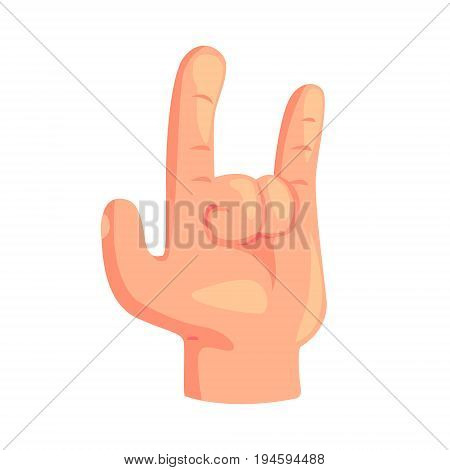 Rock and Roll hand gesture cartoon vector Illustration isolated on a white background