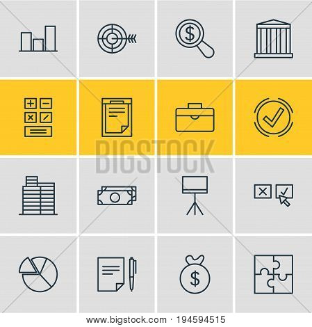 Vector Illustration Of 16 Management Icons. Editable Pack Of File, Calculate, Riddle And Other Elements.