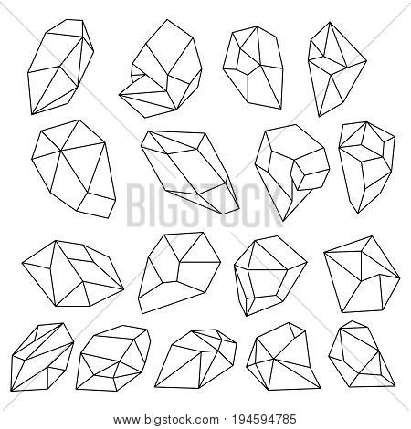 Diamond 3d shapes. Natural crystals outline. Gem stones vector set. Linear diamond geometric, crystal and gem element illustration