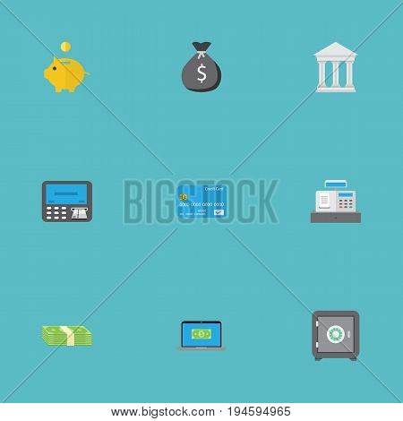 Flat Icons Computer, Bank, Finance Sack And Other Vector Elements. Set Of Banking Flat Icons Symbols Also Includes Strongbox, Salary, Sack Objects.