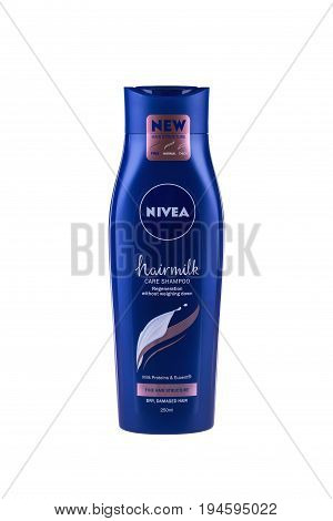 BURGAS, BULGARIA - JULY 9, 2017: Nivea Hair milk Shampoo Fine Hair Structure 250 ml isolated on white, with clipping path. Nivea brand owned by the German company Beiersdorf AG.