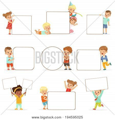 Smiling kids standing with white blank boards set. Happy little boys and girls in casual clothes holding empty posters vector illustrations isolated on a white background