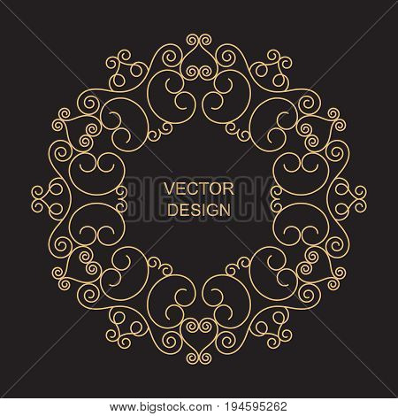 Monogram line vintage frame. Greeting cards. Wedding invitations. Retro style. Vector logo template labels and badges
