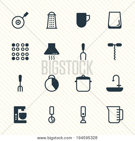 Vector Illustration Of 16 Restaurant Icons. Editable Pack Of Fork, Extractor Appliance, Timekeeper And Other Elements.