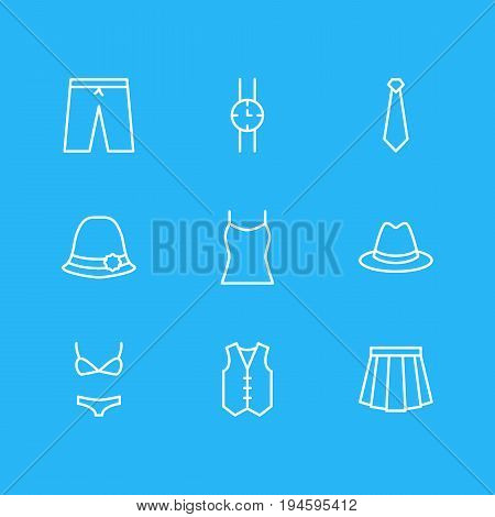 Vector Illustration Of 9 Garment Icons. Editable Pack Of Cravat, Swimming Trunks, Waistcoat And Other Elements.
