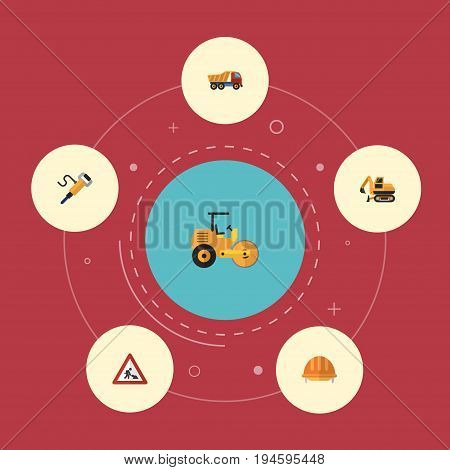 Flat Icons Tractor, Steamroller, Caution And Other Vector Elements. Set Of Construction Flat Icons Symbols Also Includes Van, Steamroller, Truck Objects.