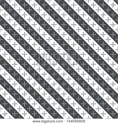 Vector seamless pattern. Simple elegant geometrical texture. Regularly repeatition diagonal strips with dotted crosses. Vector element of graphical design