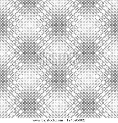 Vector seamless pattern. Trendy modern geometrical texture with small outline rhombuses and regularly repeating horizontal shapes with diamonds. Contemporary design.