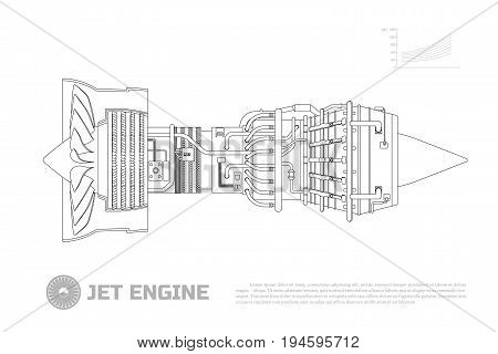 Jet engine of aircraft. Part of the airplane. Side view. Aerospase industrial drawing. Outline image. Vector illustration