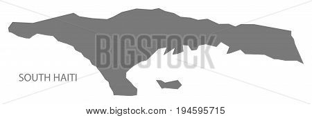 South Haiti map grey illustration silhouette shape