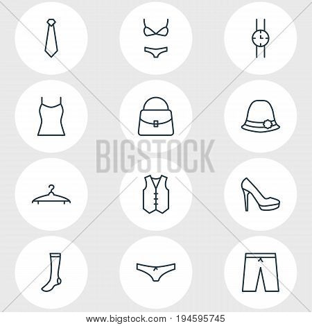 Vector Illustration Of 12 Garment Icons. Editable Pack Of Hosiery, Hand Clock, Swimming Trunks Elements.