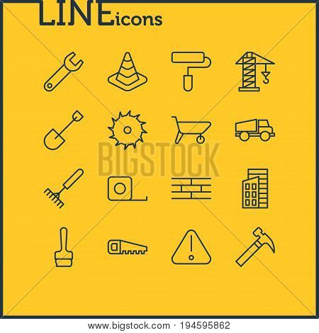 Vector Illustration Of 16 Structure Icons. Editable Pack Of Circle Blade, Lifting, Spade And Other Elements.