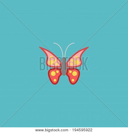 Flat Icon Butterfly Element. Vector Illustration Of Flat Icon Beauty Insect Isolated On Clean Background. Can Be Used As Butterfly, Monarch And Moth Symbols.
