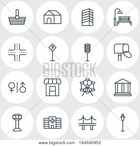 Vector Illustration Of 16  Icons. Editable Pack Of Mail Box, Courthouse, Road Sign And Other Elements.