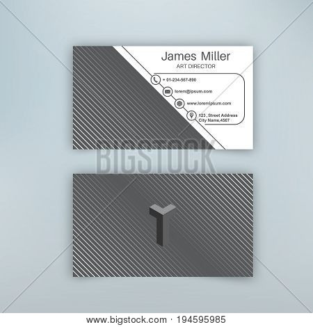 Business card blank template with textured background from thin diagonal lines. Minimal elegant vector design