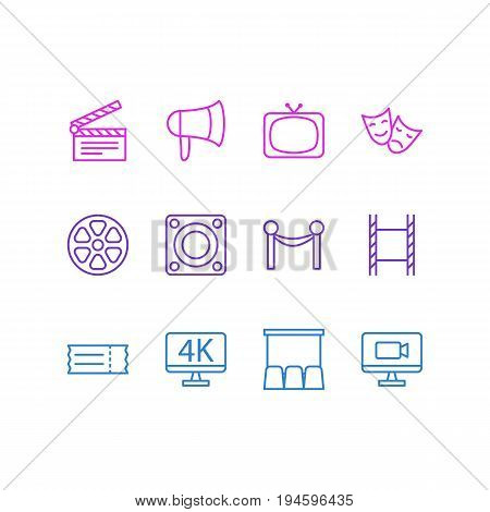Vector Illustration Of 12 Cinema Icons. Editable Pack Of Tragedy, Cinema Fence, Megaphone And Other Elements.