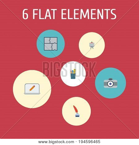 Flat Icons Scheme, Photo, Screen And Other Vector Elements. Set Of Creative Flat Icons Symbols Also Includes Photo, Case, Inkwell Objects.