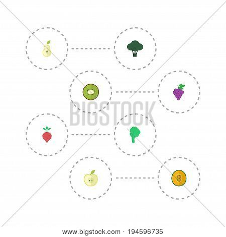 Flat Icons Exotic Dessert, Lettuce, Duchess And Other Vector Elements. Set Of  Flat Icons Symbols Also Includes Melon, Cauliflower, Duchess Objects.