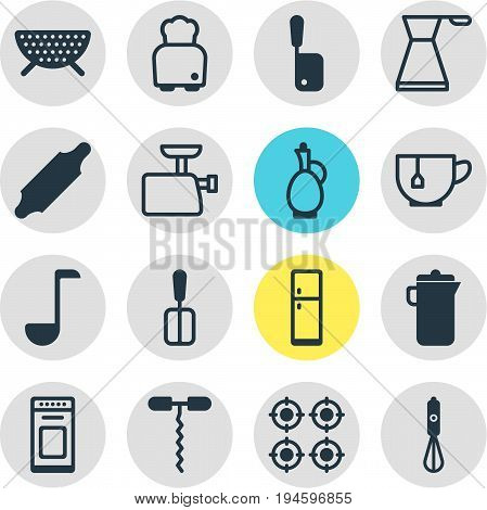 Vector Illustration Of 16 Restaurant Icons. Editable Pack Of Mincer, Bread, Mug And Other Elements.