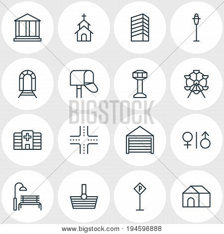 Vector Illustration Of 16  Icons. Editable Pack Of Parking, Courthouse, Home And Other Elements.