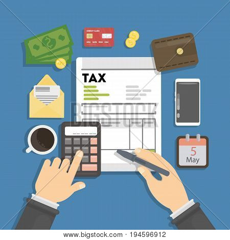 Tax calculating concept. Man checking finance and debts.