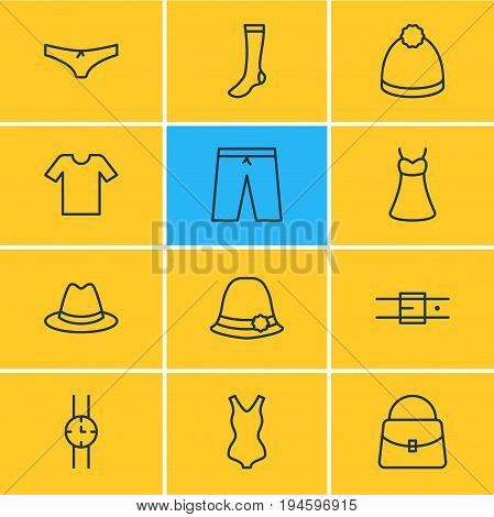 Vector Illustration Of 12 Garment Icons. Editable Pack Of Handbag, Fedora, Evening Dress Elements.